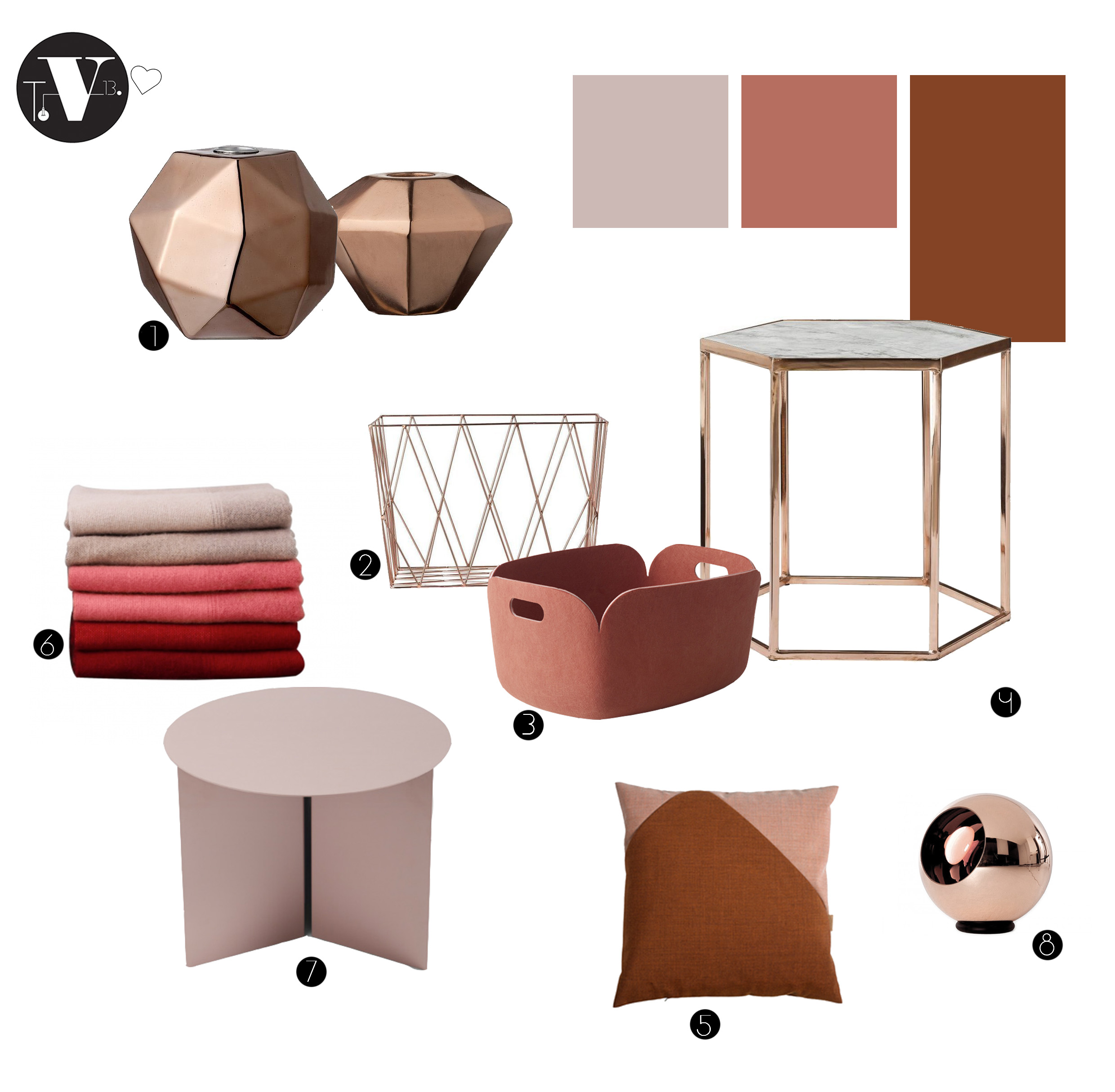 Copper and peachy pink colors of 2015 for Interieur kortrijk 2015